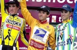 David Blanco, Roberto Heras e Alejandro Valverde. Vuelta 2003